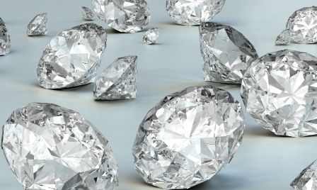 Scattered diamonds on a grey background. Very high resolution 3D render.